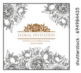 invitation with floral... | Shutterstock . vector #694984435