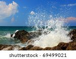 Large Wave Crash Against The...