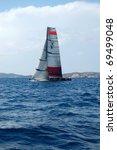Small photo of LA MADDALENA, ITALY - JUNE 2: match race regattas Louis Vuitton Trophy on June 2, 2010 in La Maddalena archipelago, Italy. Aleph team.