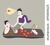 thai massages style with hand... | Shutterstock .eps vector #695004625