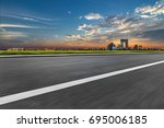 clean asphalt road with city... | Shutterstock . vector #695006185