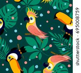 vector seamless pattern with... | Shutterstock .eps vector #695008759