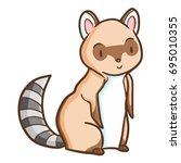 funny and cute racoon sit and... | Shutterstock .eps vector #695010355
