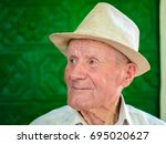 very old man portrait with... | Shutterstock . vector #695020627