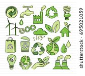 eco doodle hand drawn set... | Shutterstock .eps vector #695021059