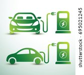 electric car and electrical... | Shutterstock .eps vector #695021245
