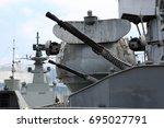 Gun Of Old Cruiser In The Port