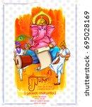 illustration of lord ganpati... | Shutterstock .eps vector #695028169
