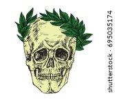 skull in laurel crown  hand...   Shutterstock .eps vector #695035174