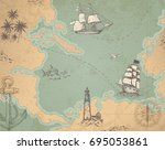 vintage vector marine map with... | Shutterstock .eps vector #695053861