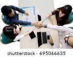top view of business team... | Shutterstock . vector #695066635