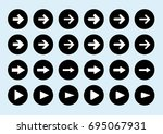 white arrow sign in black... | Shutterstock .eps vector #695067931