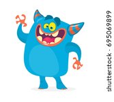 cute cartoon troll character.... | Shutterstock .eps vector #695069899