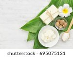 beautiful composition with shea ... | Shutterstock . vector #695075131