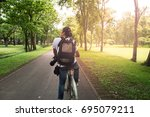 behind the back of a male... | Shutterstock . vector #695079211