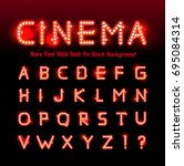 retro cinema font | Shutterstock . vector #695084314