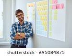 portrait of young handsome... | Shutterstock . vector #695084875