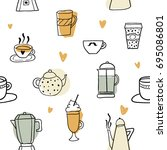 colorful hand drawn cups and... | Shutterstock .eps vector #695086801