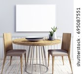 mock up poster in interior with ... | Shutterstock . vector #695087551