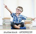 little funny boy is seating...   Shutterstock . vector #695090239