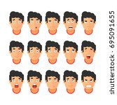 vector set of people expressing ... | Shutterstock .eps vector #695091655