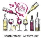 hand drawn doodle wine... | Shutterstock .eps vector #695095309