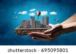 urban construction development. ... | Shutterstock . vector #695095801
