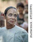 mrauk u  rakhine state  myanmar ...   Shutterstock . vector #695103991