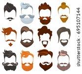 set of men cartoon hairstyles... | Shutterstock . vector #695107144
