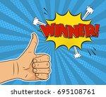 thumb up winner comic pop art... | Shutterstock .eps vector #695108761