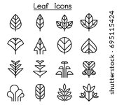 leaf   tree icon set in thin... | Shutterstock .eps vector #695115424