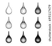 set of black and white vector... | Shutterstock .eps vector #695117479