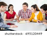 group of young students... | Shutterstock . vector #695120449