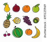 fruits icons | Shutterstock . vector #695125969