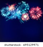 fireworks colorful display... | Shutterstock . vector #695129971