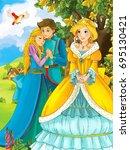cartoon fairy tale scene with... | Shutterstock . vector #695130421