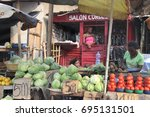 Small photo of Food market in the outskirts of Kinshasa, Republic Democratic of Congo.