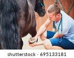 veterinary medicine at the farm.... | Shutterstock . vector #695133181