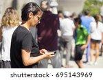 people  queue  in  line up   ... | Shutterstock . vector #695143969