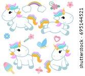 collection cartoon unicorns.... | Shutterstock .eps vector #695144521