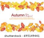 oak leaf vector frame ... | Shutterstock .eps vector #695149441