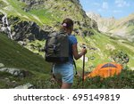 beauty young woman travel with... | Shutterstock . vector #695149819