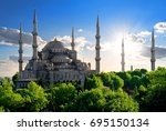 famous blue mosque at sunny... | Shutterstock . vector #695150134