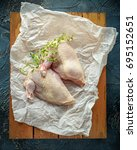 raw chicken breast supremes...   Shutterstock . vector #695152651