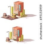 vector low poly hotel icon ... | Shutterstock .eps vector #695153959