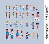 pixel art style various... | Shutterstock .eps vector #695160607