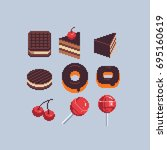 confectionery and sweets  pixel ... | Shutterstock .eps vector #695160619
