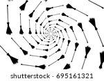 black broom on white background ...   Shutterstock .eps vector #695161321