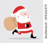 cute santa is running bring...   Shutterstock .eps vector #695161375