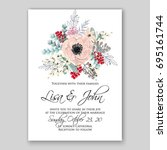 romantic pink anemone peony... | Shutterstock .eps vector #695161744